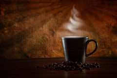 Hot coffee scene with vintage background Stock Photos