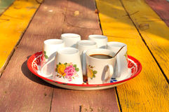 Hot coffee with set of cup on tray. Black coffee royalty free stock photo