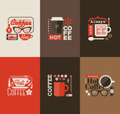 Hot coffee. Set of vector design elements royalty free illustration