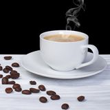 Hot coffee with smoke Royalty Free Stock Images