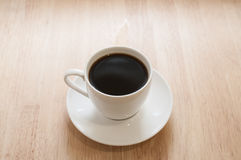 Hot coffee. On table in Cafe Royalty Free Stock Photography