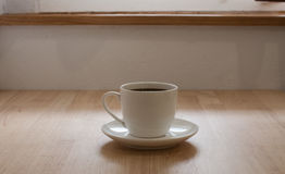Hot coffee. On table in Cafe Stock Image