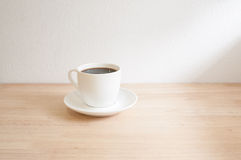 Hot coffee. On table in Cafe Stock Images