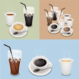 Hot Coffee, Takeaway Coffee and Iced Coffee Royalty Free Stock Photo