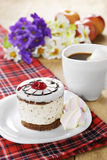 Hot coffee and tasty cake Royalty Free Stock Photos