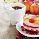 Hot coffee and tasty cake Royalty Free Stock Images