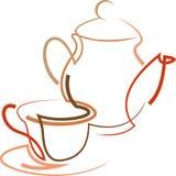 Hot coffee or tea. Line art abstract design Stock Photos
