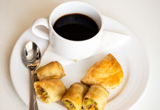 Hot coffee and Thai Spring Roll Stock Photo