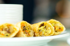 Hot coffee and Thai Spring Roll Royalty Free Stock Photo