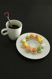 Hot coffee and thai traditional cookies, coffee break Royalty Free Stock Image