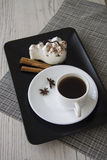 Hot coffee and tiramisu Stock Images