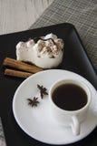 Hot coffee and tiramisu Stock Image