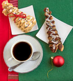 Hot coffee, two croissants and shiny red ball. Stock Photography