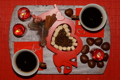 Hot coffee , Two cups on table and coffee beans - Happy Valentine's Day Royalty Free Stock Photos