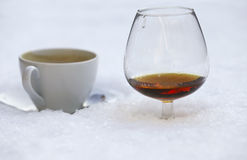 Hot coffee and warm cognac Royalty Free Stock Images