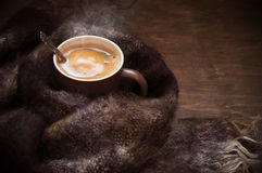Hot coffee in warm scarf Stock Photography