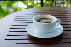 hot coffee in white cup Royalty Free Stock Image