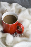 Hot coffee with white scarf Stock Photos