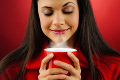 Hot coffee woman Stock Photography