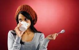 Hot coffee woman Royalty Free Stock Photos