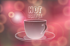 Hot coffee words on Festive bokeh lights. Hot coffee banner with Hot coffee words on Festive bokeh lights abstract background. Cafe menu banner. Hot coffee Royalty Free Stock Image