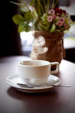 Hot coffee on your desk. Royalty Free Stock Photography