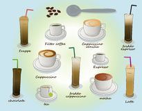 Hot & cold coffee collection Stock Image