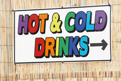 Hot and Cold Drinks Sign Stock Images