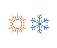 Hot and cold icon. Sun, snowflake symbol Stock Photography