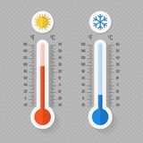 Hot and cold meteorology thermometers on transparent background vector illustration