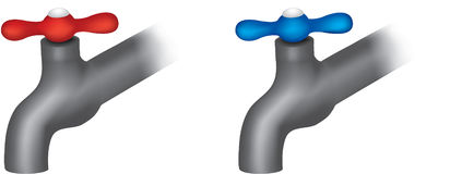 Hot and cold taps Stock Images