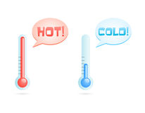 Hot and cold temperature icons. Illustration of cold or hot thermometers with talk bubble and text Royalty Free Stock Photography