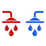 Hot cold water icon stock illustration
