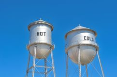 Hot & Cold Water Towers. Royalty Free Stock Photo