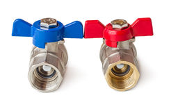 Hot and cold water valves Royalty Free Stock Photo