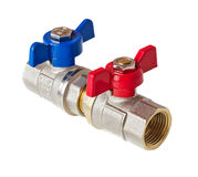 Hot and cold water valves Royalty Free Stock Image