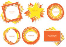 Hot color set. Vector banner set in hot colors. Without gradients stock illustration
