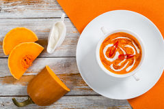 Hot colorful Thai Pumpkin Soup puree, top view Royalty Free Stock Photos