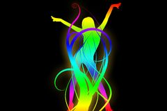 Hot coloured silhouette. Sexy dancer coloured silhouette background Stock Photo