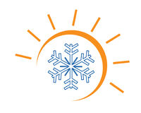 Hot and cool illustration. Sun and snowflake illustration, hot and cool logo, symbol design, isolated on white background Stock Images