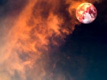 Hot and cool moon surface when sunshine Stock Images