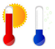 Hot and cool temperature thermometer. Illustration Royalty Free Stock Image