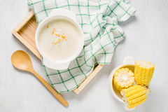 Hot corn soup in a white bowl Royalty Free Stock Photo