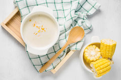 Hot corn soup in a white bowl Royalty Free Stock Photos