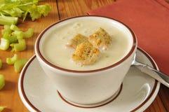 Hot cream of celery soup Royalty Free Stock Photos