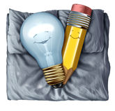 Hot Creative. And creativity concept as a lightbulb and pencil in love sleeping in bed together as a synergy metaphor between two partners for a successful royalty free illustration