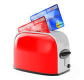 Hot Credits Concept. Credit Card Popping Out of Vintage Red Toas Stock Images