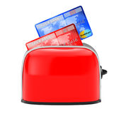 Hot Credits Concept. Credit Card Popping Out of Vintage Red Toas Royalty Free Stock Image