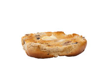Hot cross bun and butter. A buttered hot cross bun isolated on a white background Stock Photo