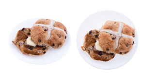 Hot Cross Bun Plate with Butter - Isolated Stock Images